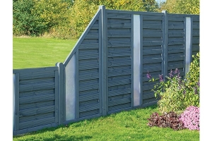 Rowlinson Palermo Grey Fence Panels, with solid infills, and of various heights