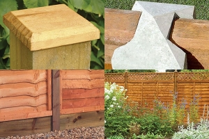 a montage of fence accessories, showing a post cap, fence post, gravel board and fence topper