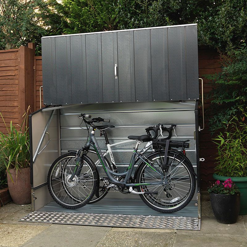 6'4 x 2'9 Trimetals Protect.a.Cycle Metal Bike Shed with Ramp - Anthracite (1.95m x 0.88m)