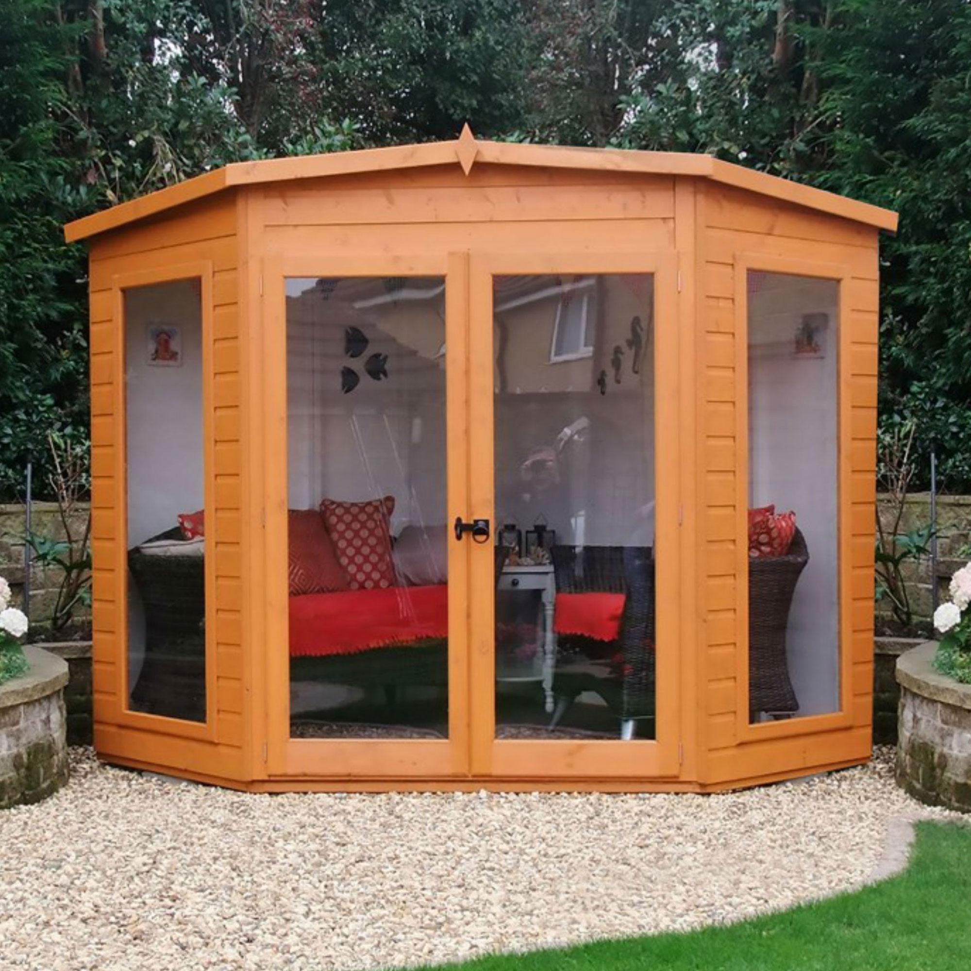 7' x 7' Shire Barclay Corner Wooden Summerhouse