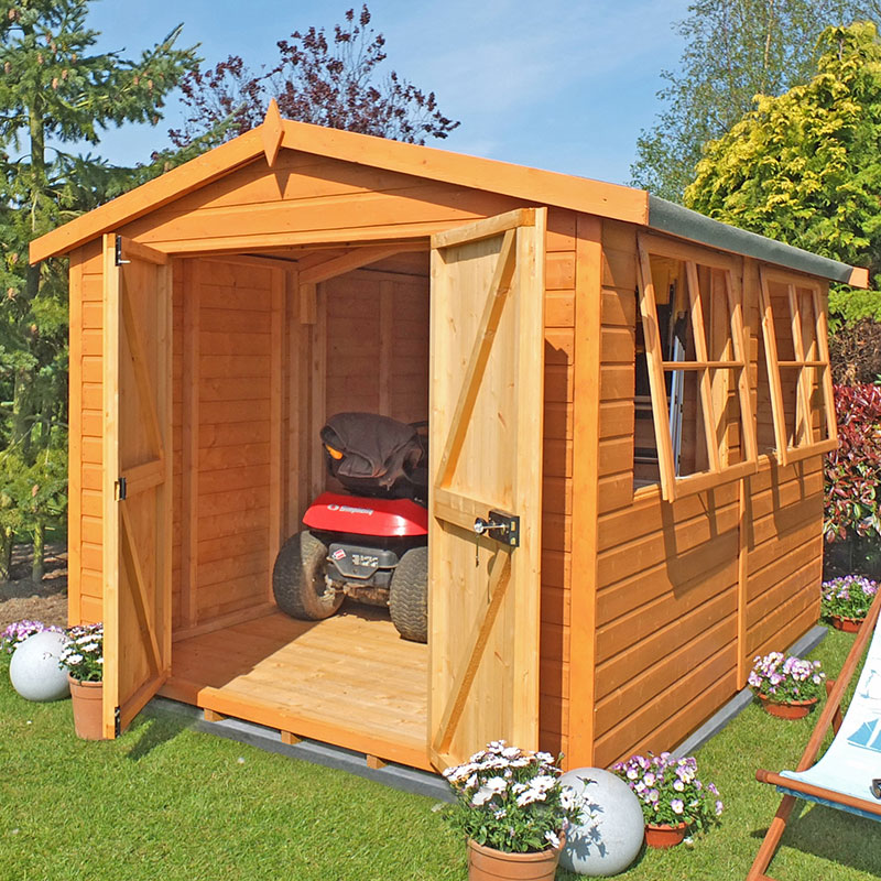 12' x 10' Shire Bison Heavy Duty Double Door Wooden Workshop (3.59m x 3.16m)