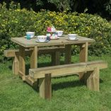 4' x 2' (1.2x0.7m) Furniture-Plus Refectory Table and Sleeper Bench Set