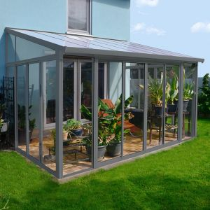 10'x14' (3x4.25m) Palram SanRemo Grey Lean-To Conservatory