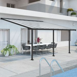 18'x10' (3x5.46m) Palram Olympia Grey Patio Cover With Clear Panels