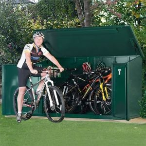7'5 x 3'4 Asgard Access Plus Green Metal Bike Shed - 4 Bikes (2.3m x 1m)