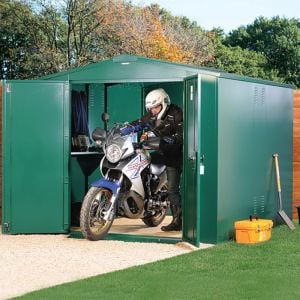 10'11 x 7'4 Asgard Gladiator Motorbike Garage Plus - Green (3.3m x 2.2m)