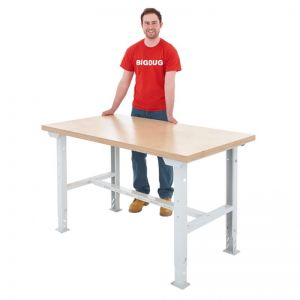 Height Adjustable Metal Frame Workbench (1.5m x 0.8m)