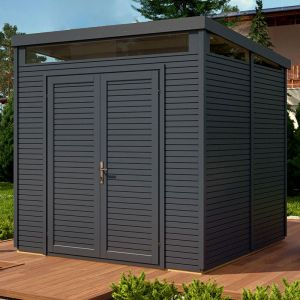 8' x 8' Rowlinson Anthracite Wooden Pent Security Shed (2.4m x 2.4m)