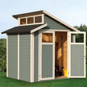 7' x 7' Rowlinson Skylight Light Grey Wooden Shed (2.1m x 2.2m)