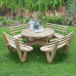 Forest Circular Wooden Garden Picnic Table with Seat Backs 8'x8' (2.4x2.4m)
