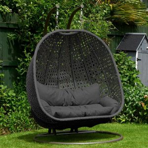 Glendale Bayeux Double Hanging Rattan Chair - Grey