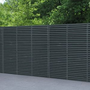 Forest 6' x 6' Contemporary Grey Double Slatted Fence Panel (1.8m x 1.8m)