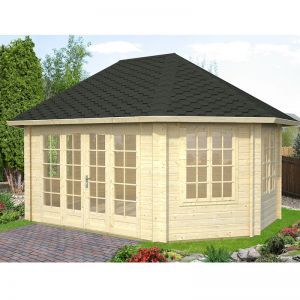 14'x19' (4.2 x 5.7m) Palmako Lisette 44mm Log Cabin