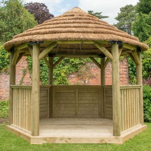 12'x10' (3.6x3.1m) M&M Hexagonal Gazebo with Country Thatch Roof (Inc. Cream Roof Lining)