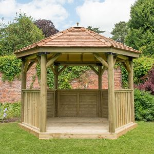 12x10 Luxury Wooden Garden Gazebo with New England Cedar Roof - Seats up to 10 people