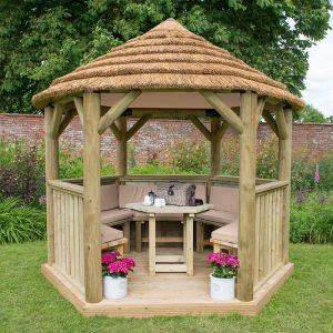 10'x9' (3x2.7m) Luxury Wooden Furnished Garden Gazebo with Thatched Roof - Seats up to 10 people