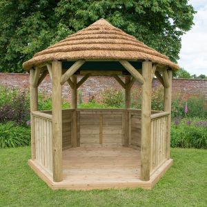 10x9 Luxury Wooden Garden Gazebo with Thatched Roof - Seats up to 10 people