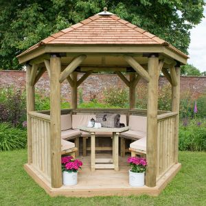 10'x9' (3x2.7m) Luxury Wooden Furnished Garden Gazebo with New England Cedar Roof - Seats up to 10 people