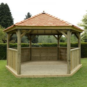 15'x13' (4.7x4m) Wooden Garden Gazebo with New England Cedar Roof - Seats up to 19 people