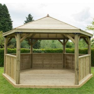 15'x13' (4.7x4m) Luxury Wooden Garden Gazebo with Timber Roof - Seats up to 19 people