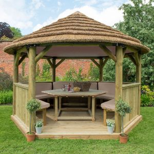 13'x12' (4x3.5m) Luxury Wooden Furnished Garden Gazebo with Country Thatch Roof - Seats up to 15 people