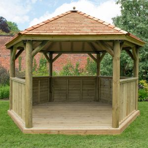 13'x12' (4x3.5m) Luxury Wooden Garden Gazebo with New England Cedar Roof - Seats up to 15 people