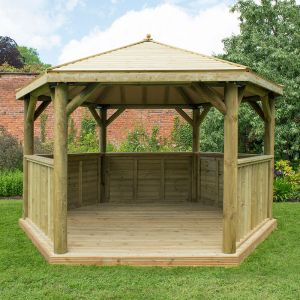 13'x12' (4x3.5m) Luxury Wooden Garden Gazebo with Timber Roof - Seats up to 15 people