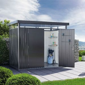 8' x 5' Biohort HighLine H2 Dark Grey Metal Double Door Shed (2.52m x 1.72m)