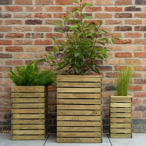 Contemporary Slatted Wooden Garden Planter - Set of 3