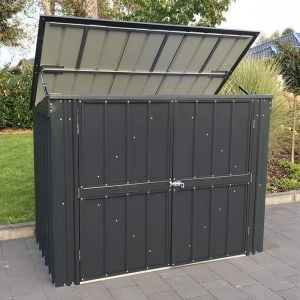 5'x3' (1.5x0.9m) Lotus Anthracite Grey Metal Double Bin Store