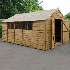 10' x 15' Forest Overlap Pressure Treated Double Door Apex Wooden Shed