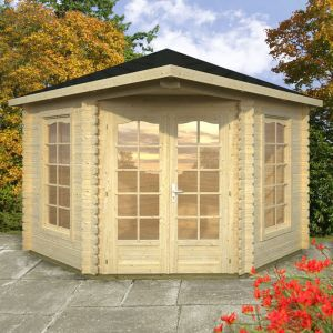 10'x10' (3x3m) Malvern Corner 28mm Log Cabin