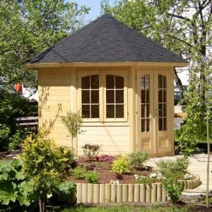 9x9 (3.1x2.9m) Palmako Veronica 28mm Log Cabin - 2 Windows