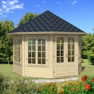 11x11 (3.4x3.4m) Palmako Carmen 34mm Log Cabin - 7 Windows