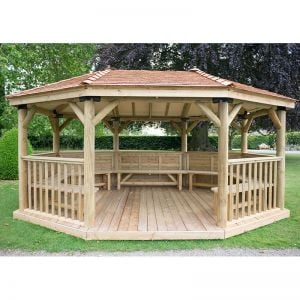 17'x12' (5.1x3.6m) Premium Oval Furnished Wooden Garden Gazebo with New England Cedar Roof - Seats up to 22 people