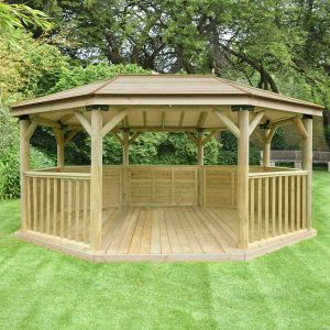 17'x12' (5.1x3.6m) M&M Premium Oval Gazebo with Traditional Timber Roof