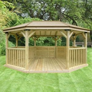 17'x12' (5.1x3.6m) Premium Oval Wooden Garden Gazebo with Timber Roof - Seats up to 22 people