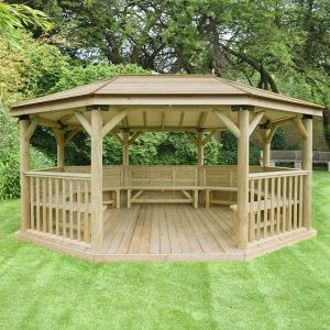 17'x12' (5.1x3.6m) Premium Oval Furnished Wooden Garden Gazebo with Timber Roof - Seats up to 22 people