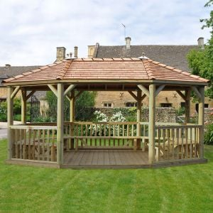 20'x15' (6x4.7m) Premium Oval Furnished Wooden Garden Gazebo with New England Cedar Roof - Seats up to 27 people
