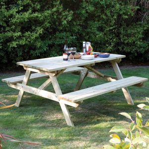 Rowlinson 8-seater Wooden Picnic Bench