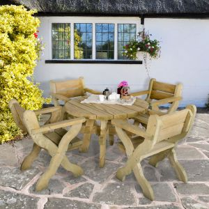 Forest Grizedale Circular Wooden Garden Table 4'x4' (1.2x1.2m)