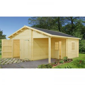 17x18 (5.1x5.5m) Palmako Log 44mm Cabin Garage - Double Doors