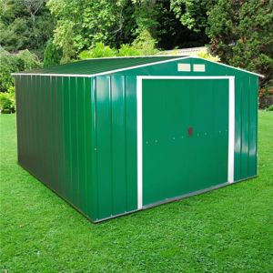 10'x10' (3x3m) Store More Sapphire Apex Green Metal Shed