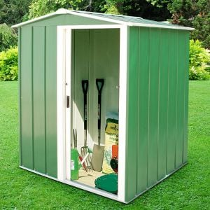 5'x4' (1.5x1.2m) Store More Sapphire Apex Green Metal Shed