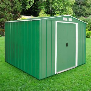 8'x8' (2.4x2.4m) Store More Sapphire Apex Green Metal Shed