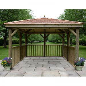 11'x11' (3.5x3.5m) Square Wooden Garden Gazebo with New England Cedar Roof