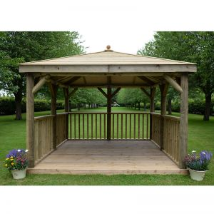 11'x11' (3.5x3.5m) Square Wooden Garden Gazebo with Traditional Timber Roof