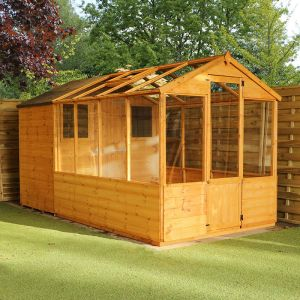 12'x6' (3.6x1.8m) Windsor Traditional Shiplap Wooden Apex Greenhouse Combi Shed