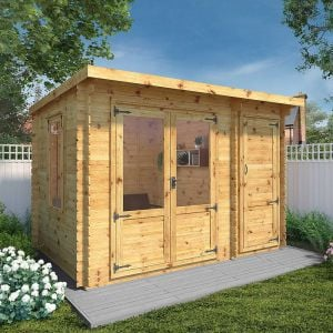 Windsor Visby 3.5m x 2.4m Pent Log Cabin with Side Shed (19mm)