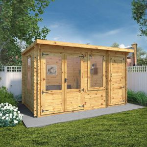 Windsor Visby 4.1m x 2.4m Pent Log Cabin with Side Shed (19mm)